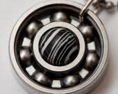 Team Zebra Roller Derby Skate Bearing Pendant Necklace