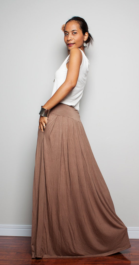 Maxi Skirt Long Light Brown Skirt : Autumn Thrills