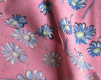 Vintage Pink Cotton Fabric with Blue and White Daisy Design, Vintage Textiles, Vintage Floral Fabric, Vintage Cotton Fabric