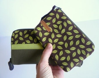 Handmade women wallet and pouch gift set //  Women wallet and purse pistachio and olive green gift set