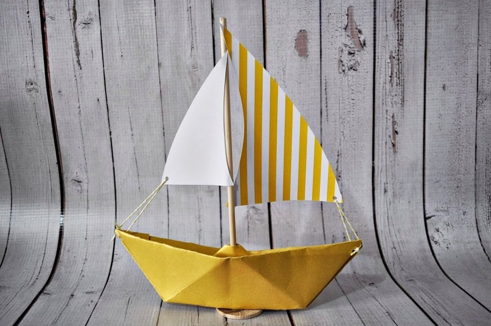 Paper Sailboat Yellow Stripe Sail With Yellow Boat