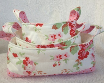 Pink Floral Fabric Basket Set made with Cath Kidston Rosali Fabric - set of three nesting baskets - READY TO DISPATCH