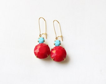 Vintage Cherry Red and Turquoise Glass Cabochon Earrings, Set Stone Earrings, Colored Stone Earrings, Rhinestone Earrings, Bezel Earrings