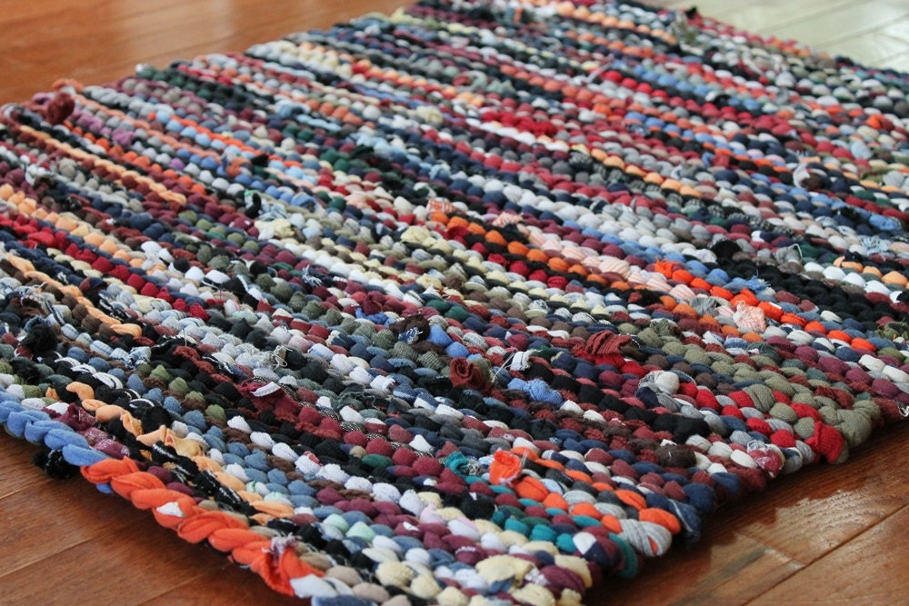 Autumn T Shirt Rag Rug Utility Upcycled Orange Red Gold Tan
