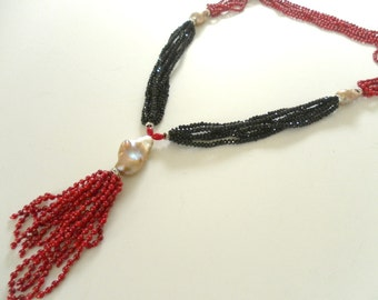 ON SALE Art Deco Necklace with Coral, Onyx and Baroque Pearl