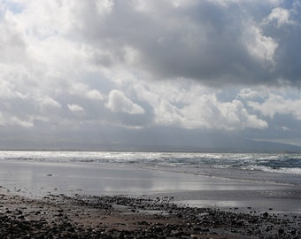 Silver Sky, Beach, Sea, Clouds, Fine Art Photography Print, Silver Beach, Landscape, Silver Sea, Silver Light,  Silver Home Decor, Wall Art