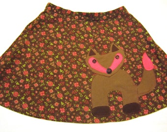 Girl's Woodland Fox Skirt - Pink & Brown Flowered Corduroy Upcycled with Forest Animal Applique - Girls 8