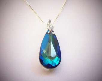 Blue Crystal Necklace Sterling Silver