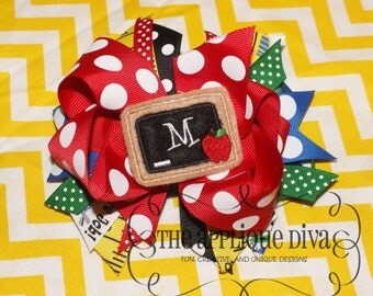Back To School Chalk Board Digital Bow Center Embroidery Design Machine Applique