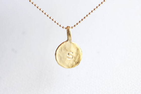 Personalized Initial Necklace - gold initial disc charm, customized letter necklace
