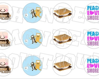 Smores bottlecap image sheet camping treat