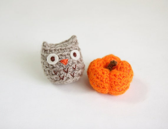 Crocheted Amigurumi Mini Pumpkin and Owl, Orange and Brown Doll, Thanksgiving, Fall Harvest Decorate