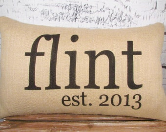 Name and established date burlap pillow personalized with name and established date - couple wedding gift - decor
