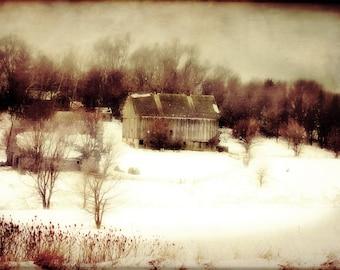 Rustic Barn Winter Scene Brown Red