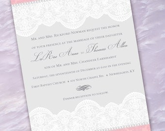 wedding invitations, pink and lace wedding invitation, Victorian wedding invitations, lacey pink wedding, pink and white bride, IN215