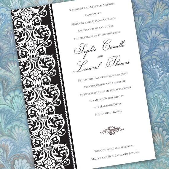 wedding invitations, black formal wedding invitations, black tie affair, black and white invitations, fundraising dinner invitations, IN212