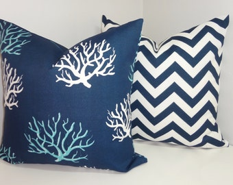 OUTDOOR Blue Navy White Coral & Chevron Print Pillow Cushion Covers Coral Porch Decorative Pillows Three Sizes