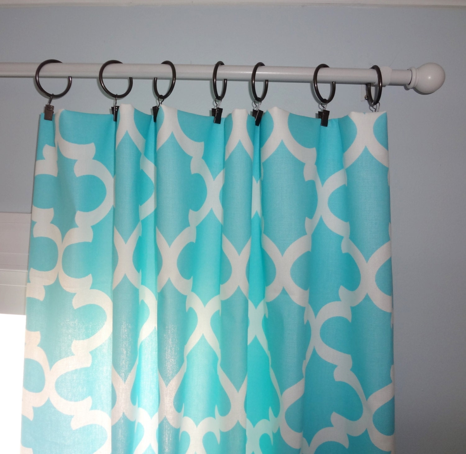 curtain panels aqua blue geometric moroccan curtain panels