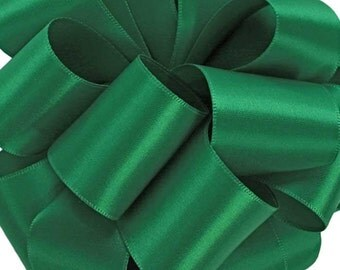 """Green Satin Ribbon, 1 1/2"""",  Emerald Double Face Satin - FIVE YARDS - Offray #580, Double Sided Satin, Christmas, Sash Ribbon, Sewing Trim"""
