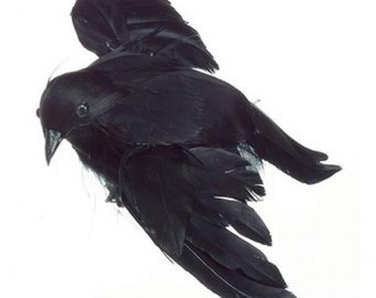 """Black Crow Small Flying, Feathered,  4.75"""" long, Halloween Embellishment, Decor, Wreath & Floral Supply Raven Faux Bird"""