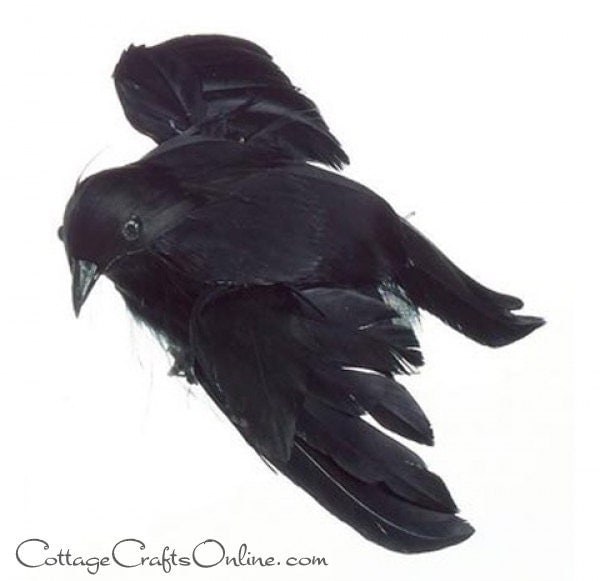 """Black Flower And Crow Halloween Wreath: Black Crow Small Flying, Feathered, 4.75"""" Long, Halloween"""