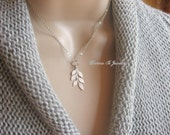 Tiny Silver Leaf Necklace, Silver Leaves Pendant, Minimalist Necklace