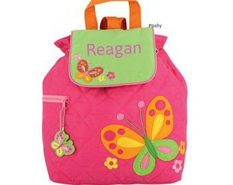 Personalized Girls Backpack or Baby Diaper Bag Stephen Joseph Quilted Butterfly Pink
