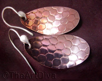 Copper Earrings, Recycled copper oval dangles with honeycomb texture and custom sterling silver earwires