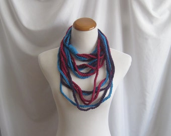 Infinity Crochet Scarf Cowl Cotton Necklace -  Dark Raspberry, Deep Purple and Bright Blue