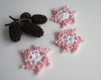 3 Crochet Beaded Flowers Mini - White and Baby Pink - Set of 3