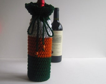 Wine Cozy - Crochet Wine Bottle Covers Sacks Gift Bags - Green, Burnt Orange and White with Wood Beads