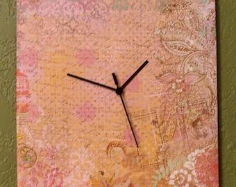 Floral Print Wall Clock