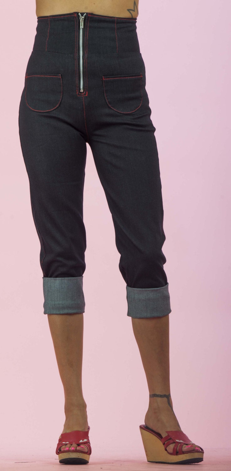 High rise jeans sit at your true waist to flatter your natural figure. Low rise jeans rest at the hip and offer a casual, torso-lengthening look. And mid-rise jeans are the perfect in-between.