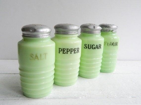 Vintage Jeannette Jadite Beehive Salt Pepper Sugar Flour Shakers, Jadeite Range Set