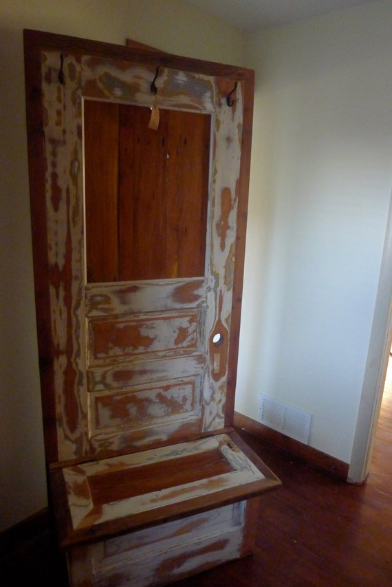 Items Similar To Custom Made Hall Tree Constructed From Reclaimed Cedar And Old Wooden Doors On
