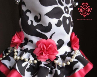 Raspberry Mousse Damask Dog Harness Dress