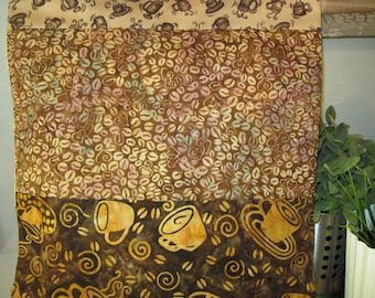 14 x 14 Inch Pillow Cover - Delicious Coffee Batiks Soothing Steaming Browns and Mugs Java Beans