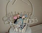 White metal basket-wedding basket-shabby chic-vintage basket-cottage decor basket-boutique display-princess room.