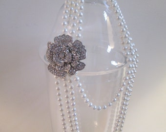 Pearl necklace with a crystal rose broochBridal Wedding ivory pearls diamond rose brooch silvertone faux diamond brooch