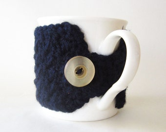 Navy blue coffee cup cozy, Crochet cup cozy, Blue cup cozy, Crochet mug cozy, For him, gift for men, Tea cup cozy, Mug warmer, Cup sleeve