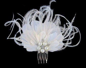 Audrina - Bridal Ivory Silk Flower Fascinator Hair Comb Pearl Rhinestone-Hand Curled Ostrich Feathers