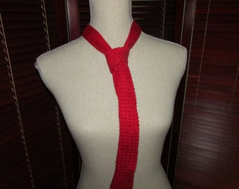 Vintage Red Rayon Knit Christmas or Valentines Day Tie, Vintage Red Holiday Knit Tie
