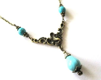 Howlite turquoise teardrop necklace jewelry antique brass bronze vintage victorian style