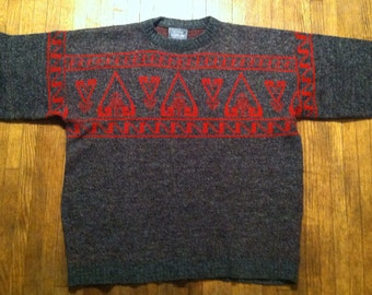 Vintage totally 80's Le TIGRE Aztec pattern sweater, XXL