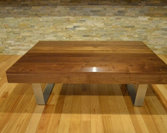 Modern Solid Walnut and powder coated bent steel coffee table