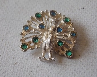 Vintage Silver Peacock Nuvo Charm Blue Green Glass Stones