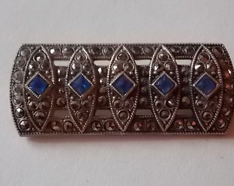 Vintage Silver Marcasite Blue Glass Stones Brooch Pin - STUNNING