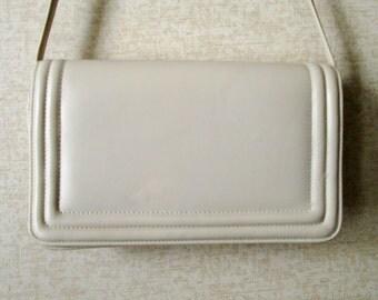 Crossbody Bag or Clutch Purse shoulder bag with long strap organizer handbag ivory beige bone white vegan purse hipster high fashion