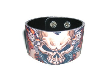 Leather Bracelet.Biker leather bracelet.Men bracelet.Leather bracelet Hottest Blessed Skull.