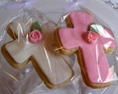 Cookies -  Sugar Cookie Cross with a  Rose  - Favors -  (Custom Colors)  - Baptism - First Communion - Christenings - Twins